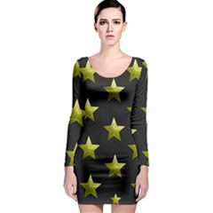 Stars Backgrounds Patterns Shapes Long Sleeve Bodycon Dress