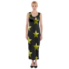 Stars Backgrounds Patterns Shapes Fitted Maxi Dress