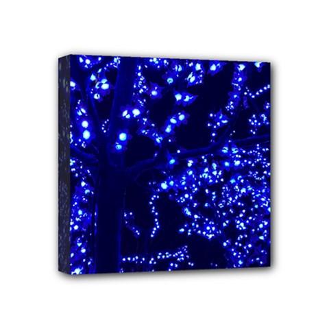 Lights Blue Tree Night Glow Mini Canvas 4  X 4