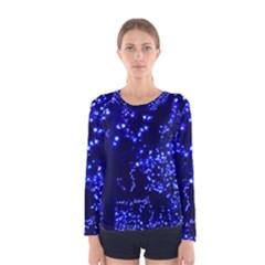 Lights Blue Tree Night Glow Women s Long Sleeve Tee