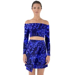 Lights Blue Tree Night Glow Off Shoulder Top With Skirt Set
