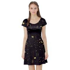 Star Sky Graphic Night Background Short Sleeve Skater Dress