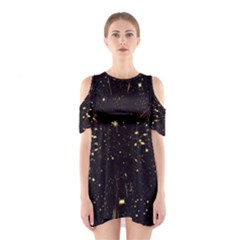 Star Sky Graphic Night Background Shoulder Cutout One Piece