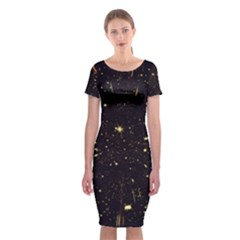 Star Sky Graphic Night Background Classic Short Sleeve Midi Dress