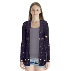 Star Sky Graphic Night Background Drape Collar Cardigan