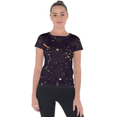 Star Sky Graphic Night Background Short Sleeve Sports Top
