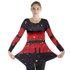Star Sky Graphic Night Background Long Sleeve Tunic