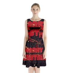 Star Sky Graphic Night Background Sleeveless Waist Tie Chiffon Dress