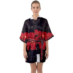 Star Sky Graphic Night Background Quarter Sleeve Kimono Robe