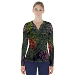 Branch Christmas Cone Evergreen V Neck Long Sleeve Top