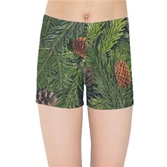 Branch Christmas Cone Evergreen Kids Sports Shorts