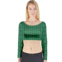 Christmas Tree Pattern Design Long Sleeve Crop Top