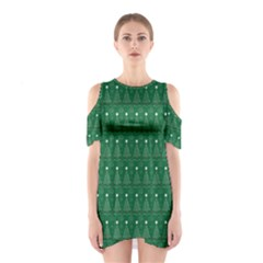 Christmas Tree Pattern Design Shoulder Cutout One Piece