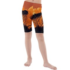 Trees Branches Sunset Sky Clouds Kids  Mid Length Swim Shorts