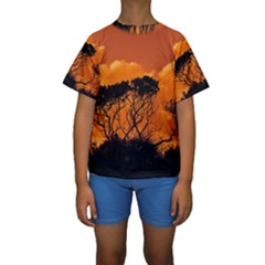 Trees Branches Sunset Sky Clouds Kids  Short Sleeve Swimwear