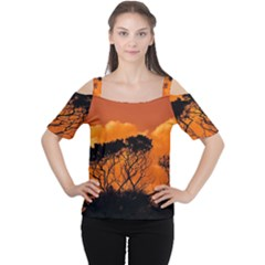 Trees Branches Sunset Sky Clouds Cutout Shoulder Tee