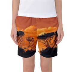Trees Branches Sunset Sky Clouds Women s Basketball Shorts