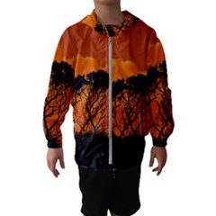 Trees Branches Sunset Sky Clouds Hooded Wind Breaker (kids)