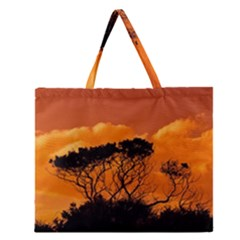 Trees Branches Sunset Sky Clouds Zipper Large Tote Bag