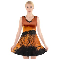 Trees Branches Sunset Sky Clouds V Neck Sleeveless Skater Dress