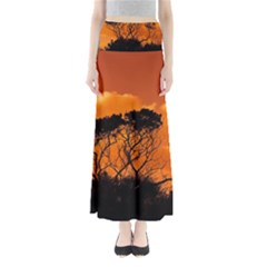 Trees Branches Sunset Sky Clouds Full Length Maxi Skirt