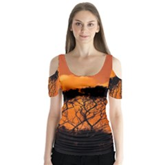 Trees Branches Sunset Sky Clouds Butterfly Sleeve Cutout Tee