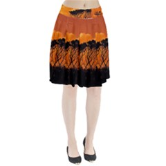 Trees Branches Sunset Sky Clouds Pleated Skirt