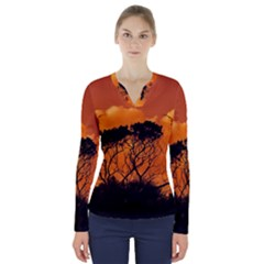 Trees Branches Sunset Sky Clouds V Neck Long Sleeve Top