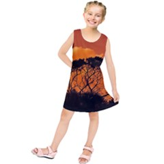 Trees Branches Sunset Sky Clouds Kids  Tunic Dress