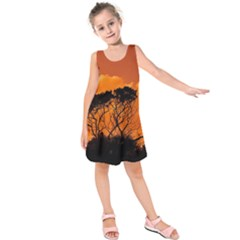 Trees Branches Sunset Sky Clouds Kids  Sleeveless Dress