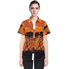 Trees Branches Sunset Sky Clouds Women s Short Sleeve Shirt