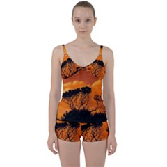 Trees Branches Sunset Sky Clouds Tie Front Two Piece Tankini