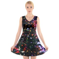 Abstract Background Celebration V Neck Sleeveless Skater Dress