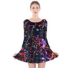 Abstract Background Celebration Long Sleeve Velvet Skater Dress