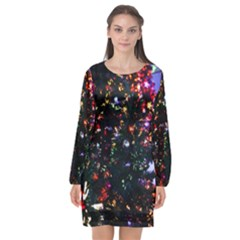 Abstract Background Celebration Long Sleeve Chiffon Shift Dress