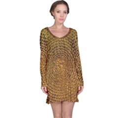 Background Gold Pattern Structure Long Sleeve Nightdress