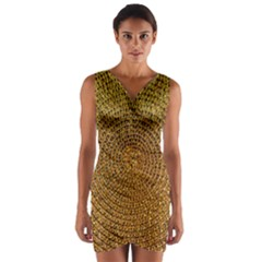 Background Gold Pattern Structure Wrap Front Bodycon Dress