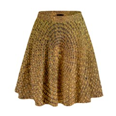 Background Gold Pattern Structure High Waist Skirt
