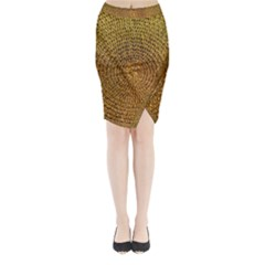 Background Gold Pattern Structure Midi Wrap Pencil Skirt
