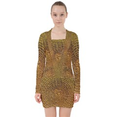 Background Gold Pattern Structure V Neck Bodycon Long Sleeve Dress
