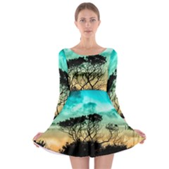 Trees Branches Branch Nature Long Sleeve Skater Dress