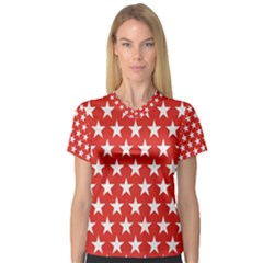 Star Christmas Advent Structure V Neck Sport Mesh Tee