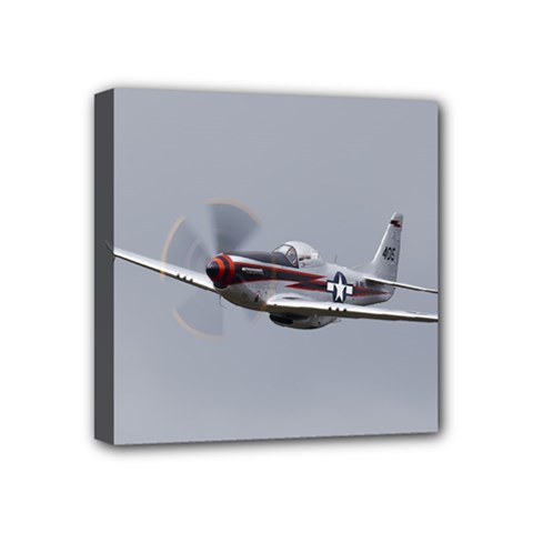 P 51 Mustang Flying Mini Canvas 4  X 4