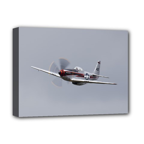 P 51 Mustang Flying Deluxe Canvas 16  X 12