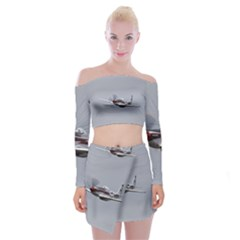 P 51 Mustang Flying Off Shoulder Top With Mini Skirt Set
