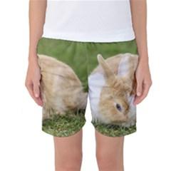 Beautiful Blue Eyed Bunny On Green Grass Women s Basketball Shorts