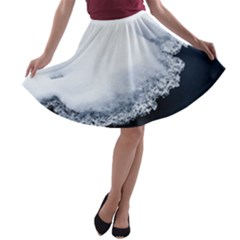 Ice, Snow And Moving Water A Line Skater Skirt