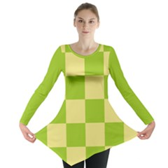 Green And Yellow (square Pattern) Long Sleeve Tunic
