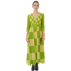 Green And Yellow (square Pattern) Button Up Boho Maxi Dress