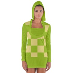 Green And Yellow (square Pattern) Long Sleeve Hooded T Shirt